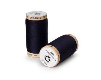 Midnight Blue (Navy) Organic Cotton Thread 300 yards-  Eco-Friendly Thread - 100% Organic Cotton Thread