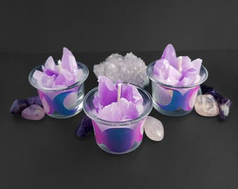 Amethyst Cluster Votive Candle Set