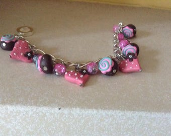Sliver Bracelet with Decoden Hearts and Chocolate Strawberry Swirls and Pink Glass Beads