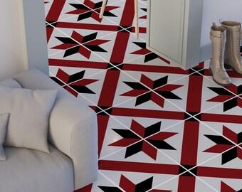 French Red and Black Wall Tiles - Floor Tiles - Tile Decals - Flooring - Tile Stickers - Vinyl floor - bathroom- kitchen- PACK 24 - SKU:FRB