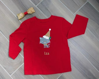 Personalized Sparkle Gold Kitty Cat Christmas Shirt with Coordinating Bow for Babies Toddlers and Big Girls