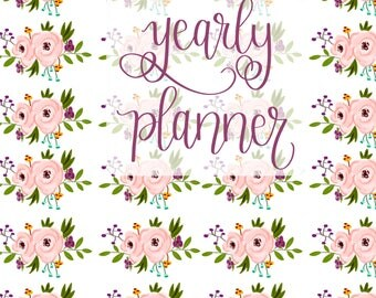 Large Undated Inspirational Planner - One Year Fill in Calendar Notebook - Floral Yearly Planbook - Monthly Weekly Student Schedule