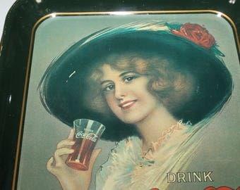 """Vintage Coca Cola Decorative Tray, Collectors' Item, Memorabilia, Advertisement, """"Drink Coca Cola Delicious and Refreshing, Woman w drink"""