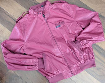 Nice Vintage 80s Members Only Zip-up Jacket by Europe Craft, Men's 44 Large, Cranberry Color