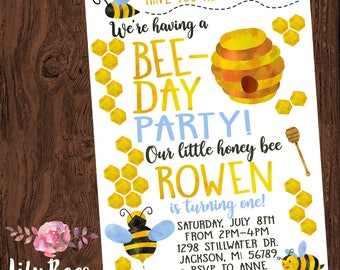 Bee Birthday Invitation