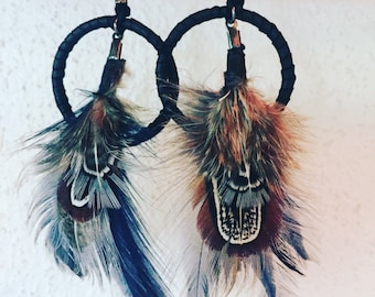 Blue Feather and Leather Earrings