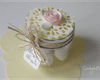 Wedding Favor-jar-jars-gift Idea-lace table decoration-confetti-Romantic place holder