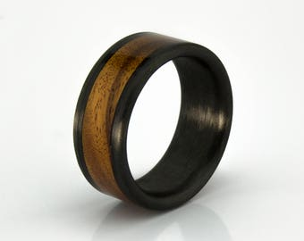 Carbon Fiber ring with Bolivian Rosewood liner