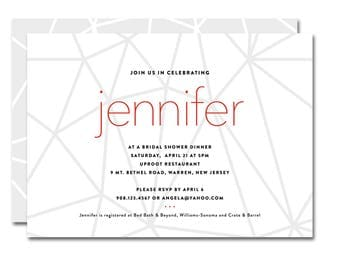 Bridal Shower 5x7 Invitation - Modern Lines - White, Gray and Red - Printable and Personalized
