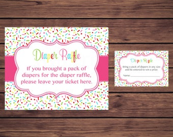 Pink Baby Shower Diaper Raffle Tickets, Pink Sprinkle Baby Shower Diaper Raffle Insert Card Ticket, Instant Download PDF Printable