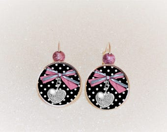 Earrings cabochon Silver Bow and pink/black polka dots