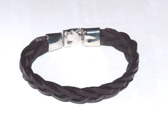 Leather Bracelet men braided black and silver clasp