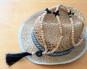 Long necklace black Butterfly/cross/natural wood beads / Bohemian Gypsy boho black tassel