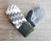 Best Wool Sweater Mittens // Womens Sweater Mittens // Fleece Lined mittens // Gray and Green