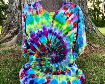 XL Tie Dye Shirt - Size Adult XL Ice Dyed T-Shirt - Ice Dye Tie Dye Shirt - Trippy Tie Dye - Rainbow Spiral Tie Dye Shirt - Size XL Ice Dye