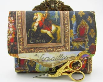 Versailles/ Louis XIV Mini NCW Necessary Clutch Wallet Handcrafted purse/wallet, custom designed fabric featuring the Famous Sun King.
