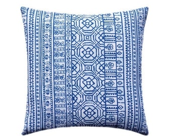 SALE Blue and White Decorative Pillow Covers, Blue Pillow, Tribal Pillow, Aztec Pillow, Throw Pillow Cushion Cover, Devada Cobalt Blue Pillo
