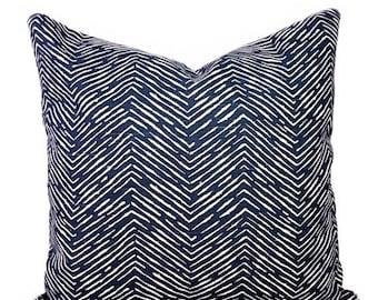 SALE Navy Herringbone Throw Pillow Cover, Navy and White Pillow Cover, Chevron Pillow, Cameron Navy Pillow Cover, Chevron Pillow, Navy Chevr