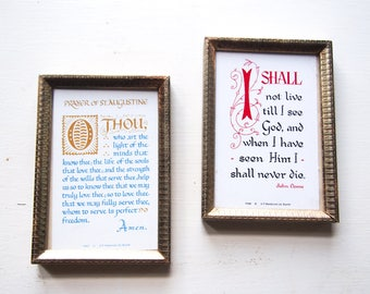 Two vintage frames with John Donne Augustine quotes religious quotes