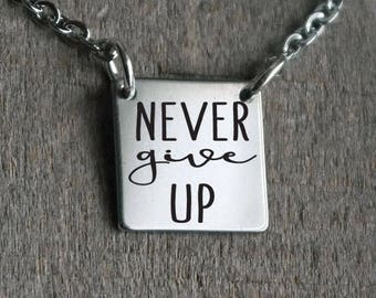 Never Give Up Square Bar Custom Personalized Engraved Bar Necklace