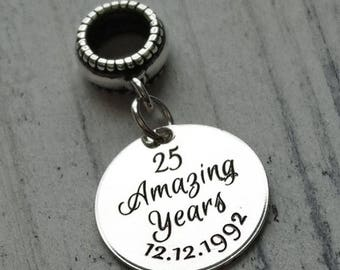 Amazing Anniversary Personalized Engraved Charm Bead
