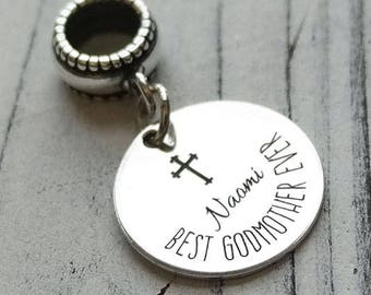 Best Godmother Ever Personalized Engraved Charm Bead