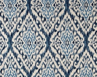 SALE Ikat Curtains drapery panels designer drapery, window curtains 50W 2 panels, bedroom drapery Indigo Blue curtains