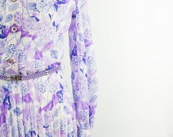 Vintage Dress // 70s// 80s// Purple // Pleated