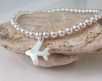 Sterling Silver Stretch Bracelet, Charm Bracelet for Women, Airplane Charm, Ball Bead Bracelet, Gift for Traveller, Handmade, Personalize