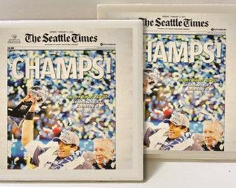Seattle Seahawks Super Bowl Champion Set of 2 Ceramic Tile Coasters