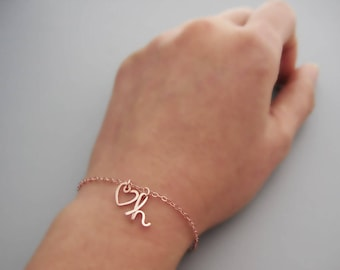 Rose Gold Heart and Initial Bracelet - cursive lowercase letter charm with delicate chain, personalized mom jewelry