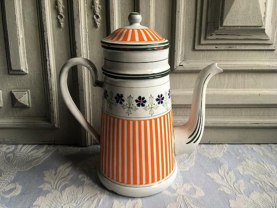 Antique Enamel Cafetiere Coffee Pot Vintage French Rare