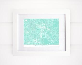 UGA Map Art Print, Athens, GA, More Colors!