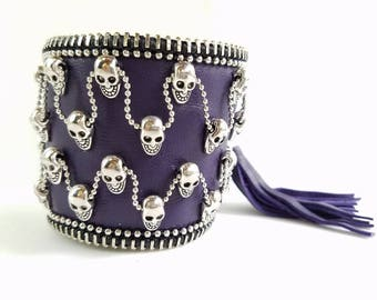 Skull on Purple leather.