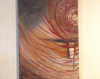 """abstract painting """"Swirl of fire"""" acrylic painting"""