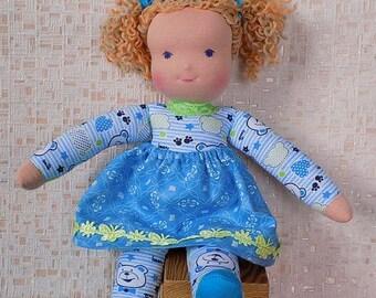 12 inch soft  doll,  rag doll, textile doll, fabric doll, custom doll, cloth doll, personalized doll, waldorf doll