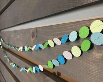SALE Green & Blue Minty Fresh Circle Garland || Srping Garland || Confetti Garland || Mint || Baby Boy Garland