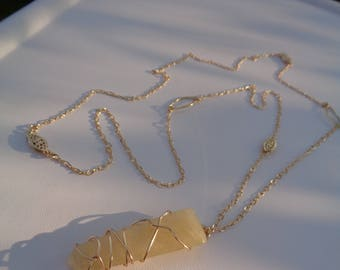 Long gold necklace with citrine, 585 gold filled, beautiful design