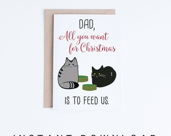 Printable Christmas Cards For Him, For Husband, Boyfriend, Cat Dads, Cat Dad, Funny Christmas Cards from the Cats, Black Cat, Grey Tabby Cat