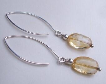 Yellow Citrine gemstone earrings on long Sterling Silver hooks - November Birthstone jewellery gift - 3rd Chakra