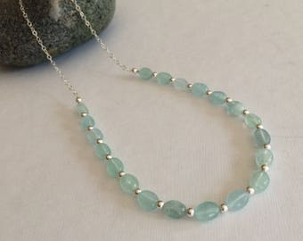 Dainty Aquamarine necklace - Sterling Silver or Gold Filled - March Birthstone jewellery - Chakra - Healing jewelry gift