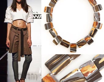 Handmade necklace inspired by the winning design by Kentaro on Project Runway!