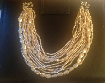 FREE SHIPPING !!!  Vintage Multi Strand Fresh Water Pearls and Seed Bead Pearls Choker Necklace
