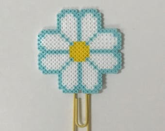 Light Blue and White Flower Planner Clip | Paper Clips | Bookmark | Spring | Accessories | Charms | Party Favors | Mini Perler Beads | Gift