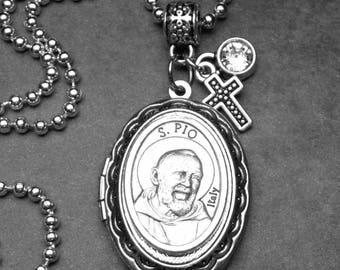 Healing Patron St. Padre Pio Catholic Holy Medal Locket Necklace, Handmade Jewelry, Catholic Gift, Get Well Gift