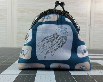 Sea Life Sailors, Jellyfish Coin Purse, Change Purse, Notion Holder, Lip Balm Holder
