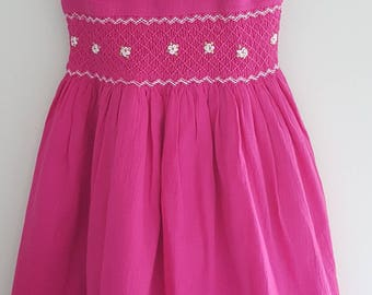 Beautiful pink hand smocked girls dress with hand embroidery  - Size 3 years