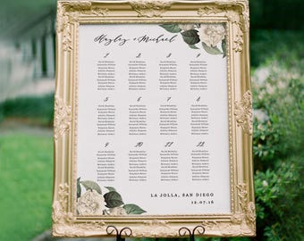 Greenery Wedding Seating Chart Template, Seating Plan, Vintage Floral Seating Chart Poster, Editable in Word or Pages