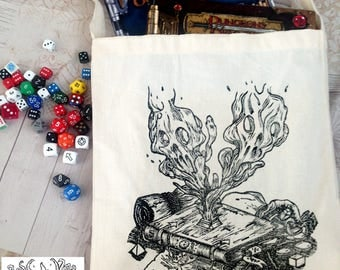 DUNGEONS AND DRAGONS lino printed tote bag of holding // D&D // rpg // roleplaying game // D20 // gaming // geek // gift for dungeon masters