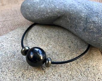 Large Shungite Bead Bracelet w/Pyrite Rondelles